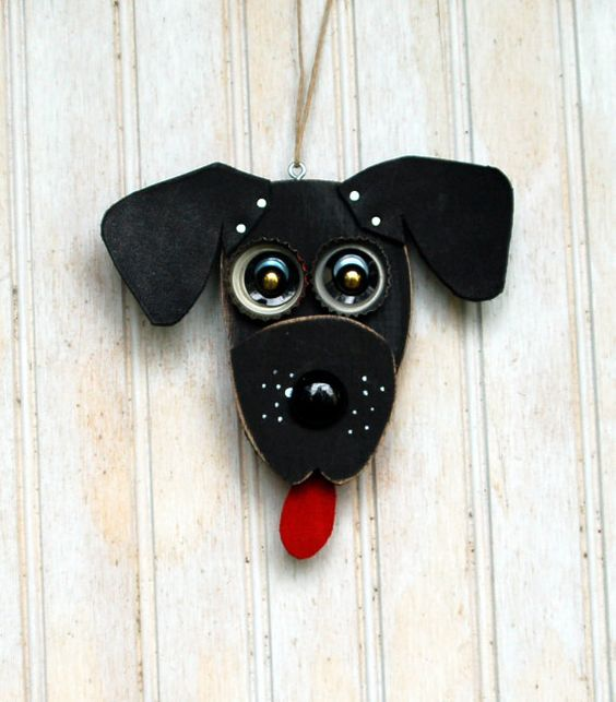 Black Lab Dog Ornament Recycled Hand Made by KingsBenchCreations