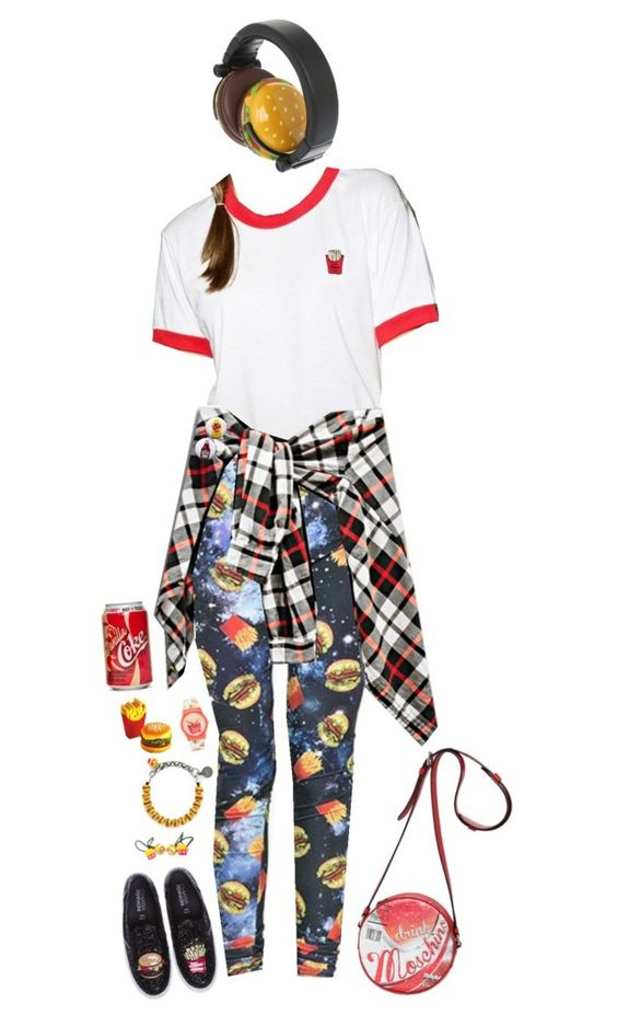 """""""Head-to-Toe Burgers+Fries"""" by m-bot ❤ liked on Polyvore featuring Hollywood Mirror, Venessa Arizaga, ZooShoo, ASOS, Valfré, Moschino, women's clothing, women, female and woman"""