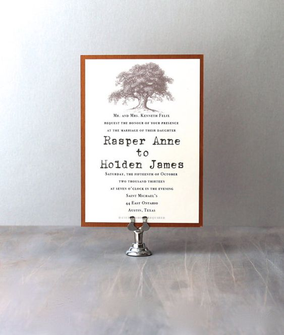 Country Wedding Invitations Oak Tree Wedding By BeaconLane On Etsy