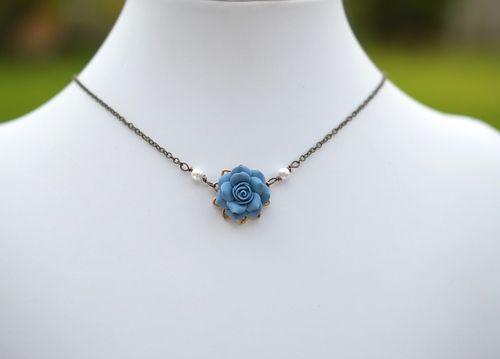 Delicate Drop Necklace in Dusty Blue Rose