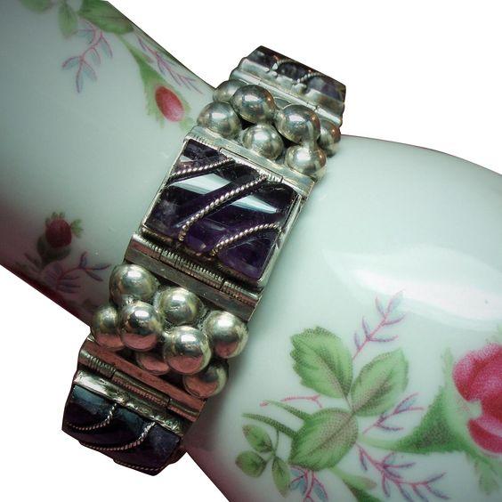 Vintage Mexico Square Link Amethyst & Raised Bead Sterling Bracelet