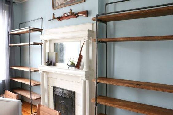 How to make a freestanding industrial pipe bookcase for Diy industrial bookshelf