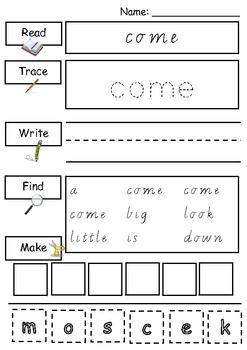 Printables Primer Sight Word Worksheets pre primer sight words worksheets word dolch teacherspayteachers com