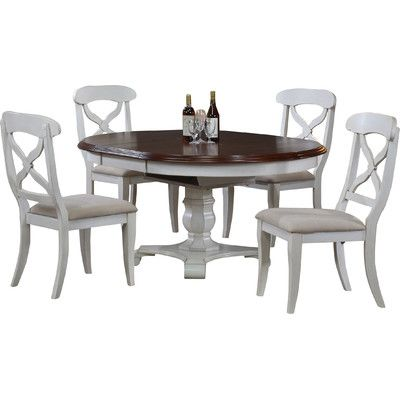 August Grove Hanna Butterfly Leaf 5 Piece Dining Set & Reviews | Wayfair