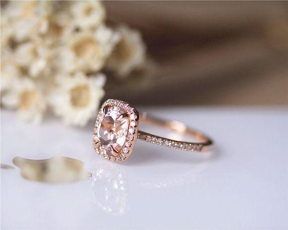 6x8mm ovale Morganite anneau solide 14K Rose or par JulianStudio