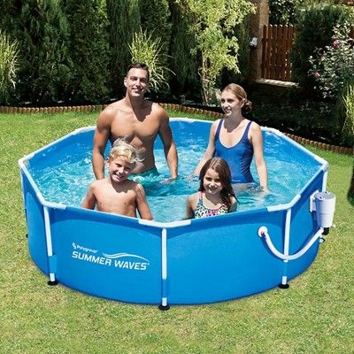 Summer Waves 8ft X 30in Round Metal Frame Above Ground Swimming Pool Pump Summer Waves Pool Swimming Pools