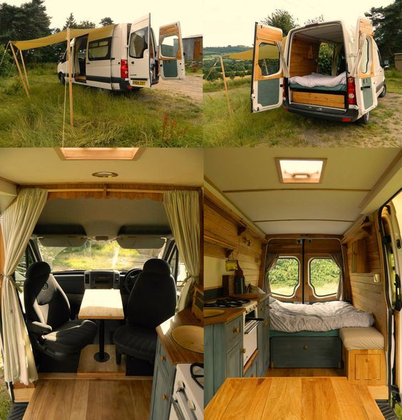 VW Crafter camper transformation by Rustic Campers. Great interior set up, spacious but not too big, perfect! https://www.facebook.com/rustic.campers?fref=ts