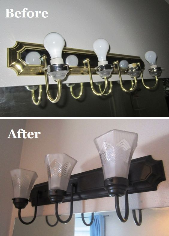 How to change brass and chrome light fixtures to oil rubbed bronze. Plus tips for perfect spray-painting. Easy and cheap! Before and after. A Farewell to Can't