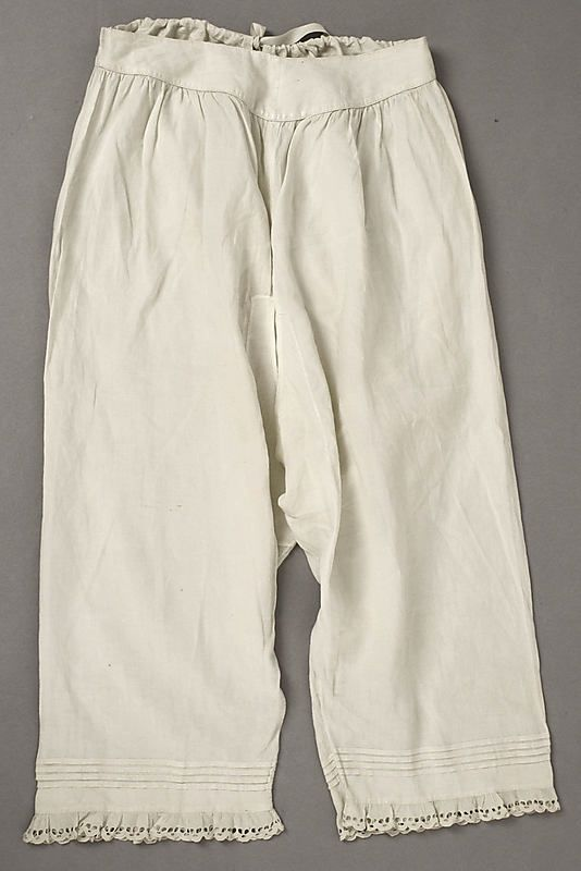 Drawers with eyelet lace trim, American or European, 1860s.: