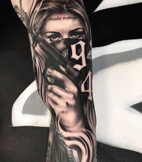 New Work By Artist Dointatsbj Blackandgray Inksav Blackandgrey Gangster Tattoos Chicano Tattoos Girl Arm Tattoos