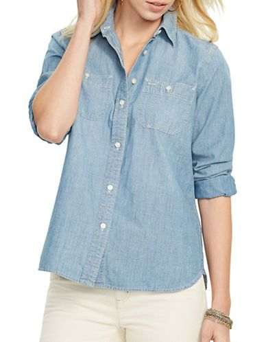Lauren Ralph Lauren Cotton Long-Sleeve Shirt Women's Lepore Wash #chambray #workshirt #beachyfashion