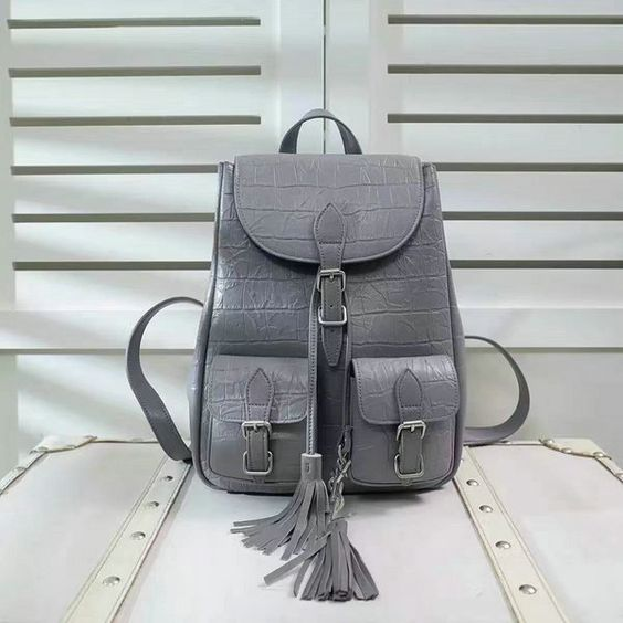 $329.99  New Saint Laurent Festival Backpack in Grey Crocodile Embossed Leather