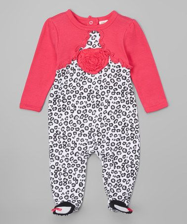 Love this Black & Pink Cheetah Heart Footie - Infant on #zulily! #zulilyfinds