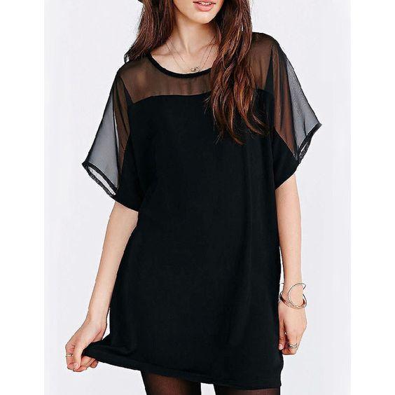 Short Sleeve Chiffon Shift Dress ($12) ❤ liked on Polyvore