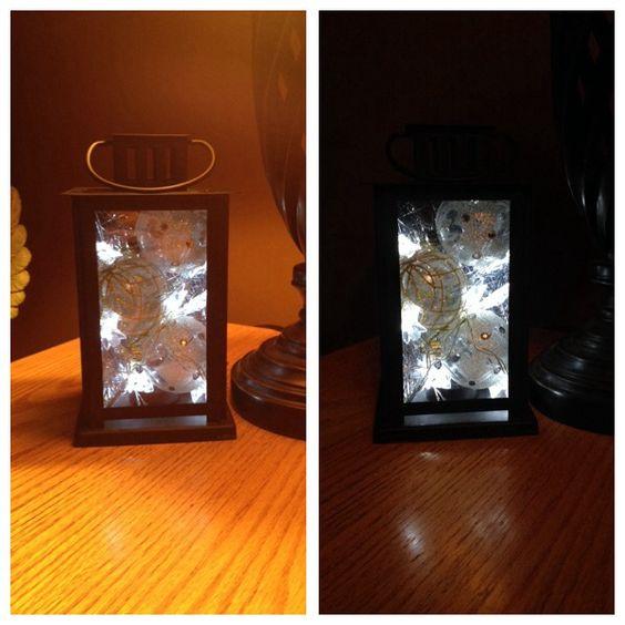 Christmas lantern: lantern, bulbs, LED lights and some tinsel!