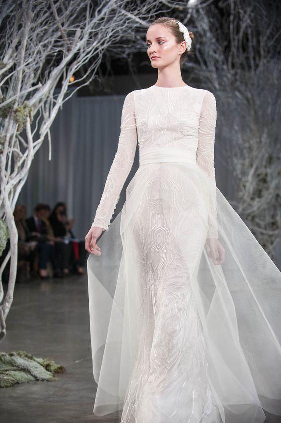 Monique lhuillier unveils 3 huge bridal trends for fall for Monique lhuillier bridal designers