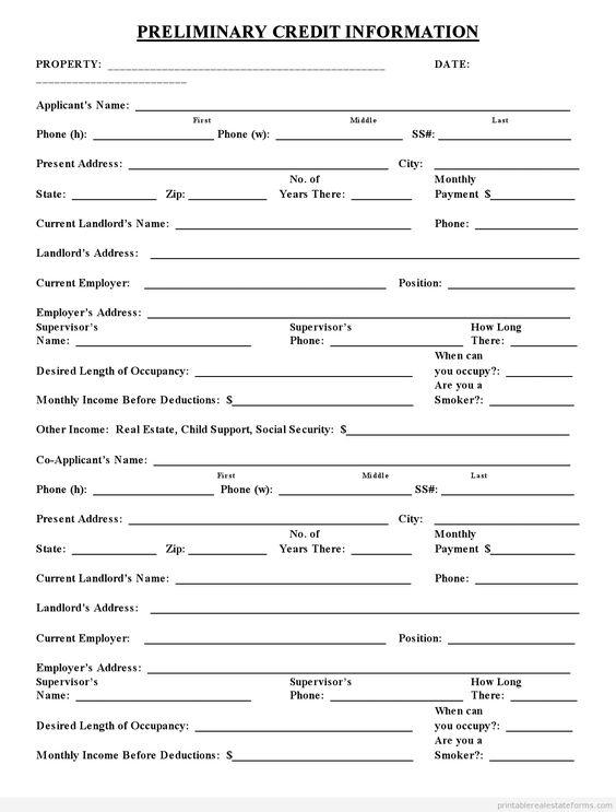 Sample printable preliminary credit application form for Credit applications templates