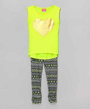 Loving this Lime Metallic Heart Tank & Geo Leggings - Girls on #zulily! #zulilyfinds