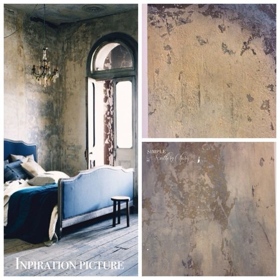 Weathered concrete like faux finished walls classic and beautiful