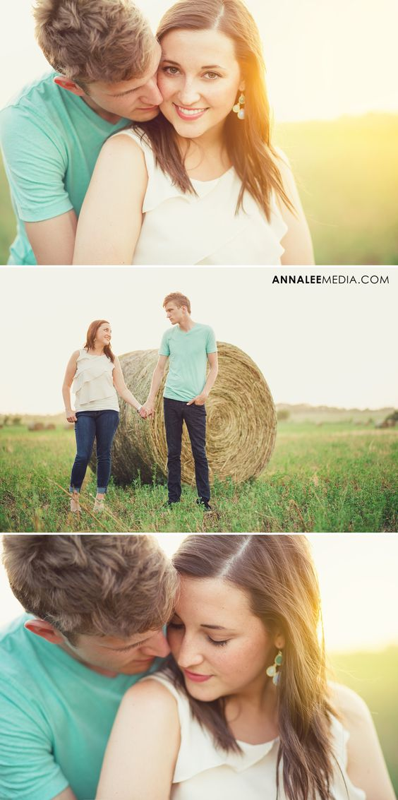 © Anna Lee Media | Oklahoma Engagement Photographer, backlighting, couple pose, field, bright colors