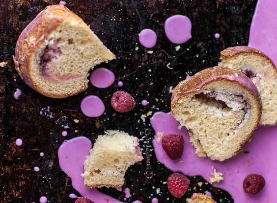cheese babka with raspberry sauce (polish easter bread)