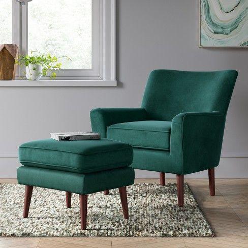 Wondrous 2Pc Englund Chair And Ottoman Dark Green Velvet Project 62 Machost Co Dining Chair Design Ideas Machostcouk