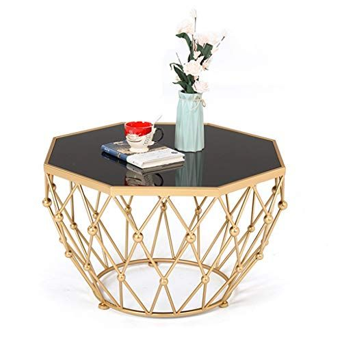 Exquisite Wrought Iron Coffee Table Black Tempered Glass Tabletop