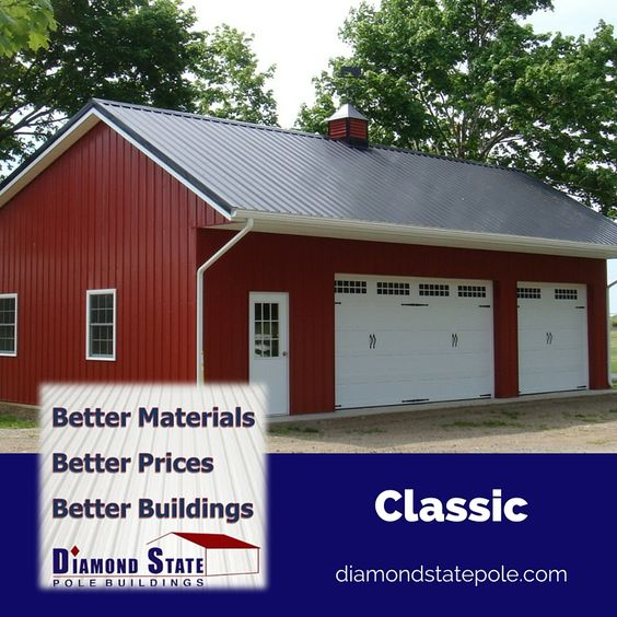 Classic pole barns and red on pinterest for Red barn prefab