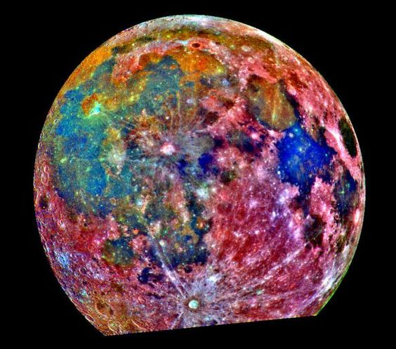 Moon--composite of 15 photos taken through 3 color filters to emphasize composition of surface.  blue:  titanium-rich    orange and purple: iron and titanium-poor