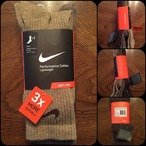 1 Pack Large Assorted Brown Nike Crew Socks - 3 Pairs - Size 8-12 -Brown Tan Khaki Basketball Golf Casual Dress Nike http://www.amazon.com/dp/B011K5LKUM/ref=cm_sw_r_pi_dp_WbjPvb0JAMRKV