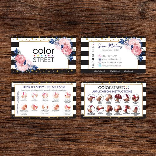 Personalized Color Street Business Cards Colorstreet Application Cl48 Color Street Colorful Business Card Arbonne Business Cards