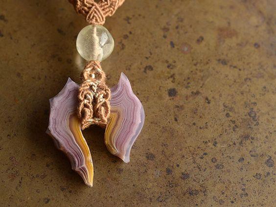 アゲート リビアングラス 天然石ネックレス