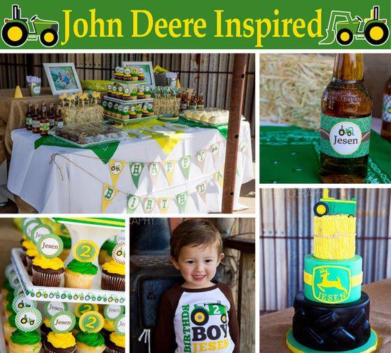 DIY John Deere Inspired Deluxe PRINTABLE  birthday party package green yellow brown  Cupcake Express via Etsy