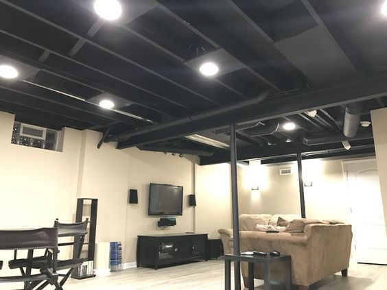 Exposed Basement Ceiling Painted Black Plywood Added Around Recessed Lights For A More Finished L Black Basement Ceiling Low Ceiling Basement Basement Ceiling