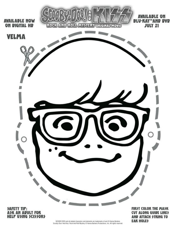 Free printable scooby doo velma mask printable coloring for Kiss mask template