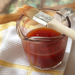 In a medium non-reactive saucepan, combine vinegar, ketchup, brown sugar, crushed red pepper, salt, and black pepper. Bring to boiling; reduce heat. Simmer, uncovered, for 10 minutes. Transfer to a glass bowl; cool completely. Serve with desired meat.**