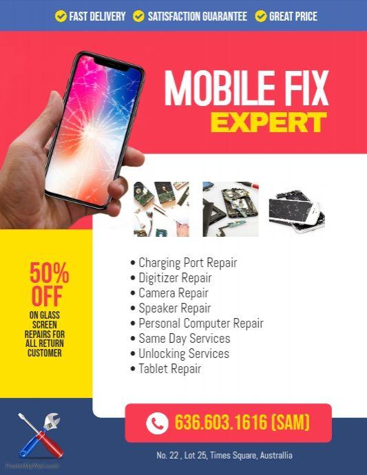 Smartphone Mobile Phone Repair Flyer Poster