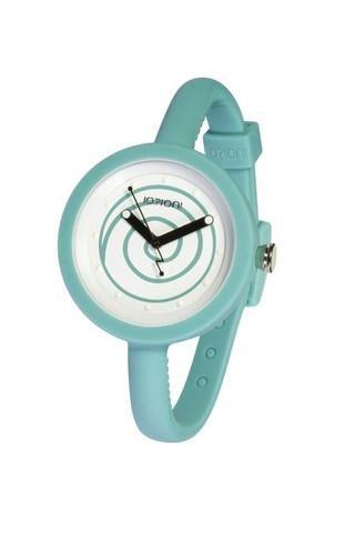 """Reloj IO?ION!, modelo POD LAGOON SWIRL, analógico. Diseño redondeado, esfera con dibujo en espiral y correa en color azul lago, con cierre de clip regulable (cada 5 mm). Diseño ergonómico y ultraligero. Ultraplano. Talla única con pulsera ajustable con hebilla. UNISEX. Sumergible (hasta 30 m. de profundidad). FUNCION """"YES WE CHANGE""""."""