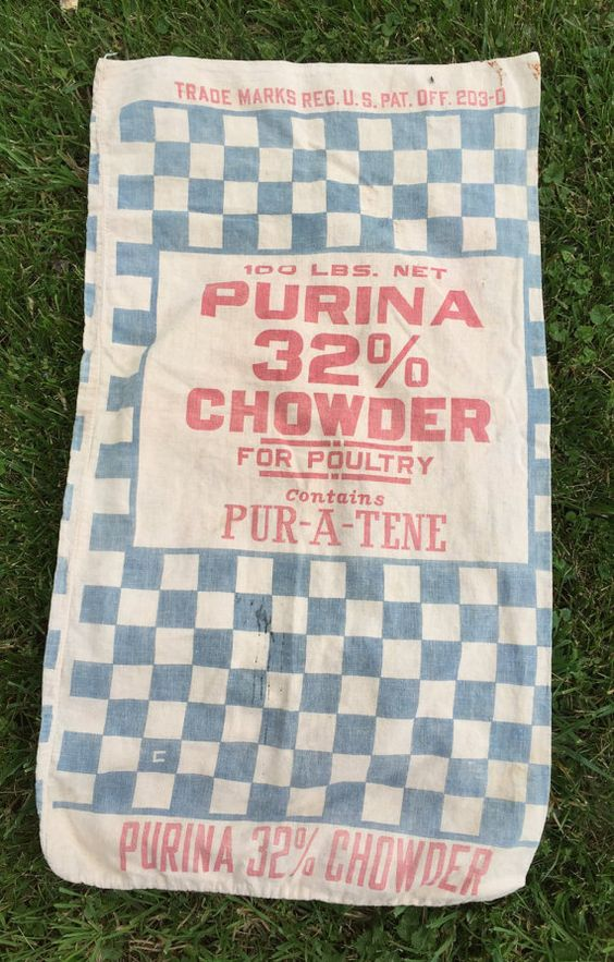 Vintage Feed Sack Purina Chowder Poultry Chicken by AStringorTwo