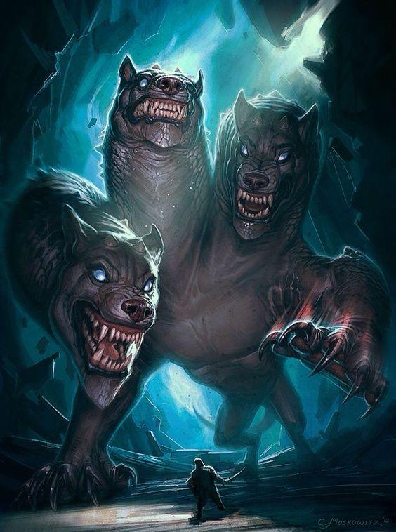 Cerbère chien à trois têtes