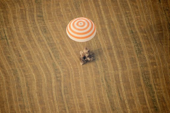 Soyuz TMA-22 capsule with Expedition 30 aboard lands in a remote area outside the town of Arkalyk in Kazakhstan, on April 27. US astronaut Dan Burbank, Russian cosmonauts Anton Shkaplerov and Anatoly Ivanishin, landed today safely in the Kazakh steppe aboard a Russian Soyuz capsule after a stay of over five months aboard the International Space Station.