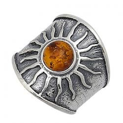 honey Baltic amber and sterling sun ring