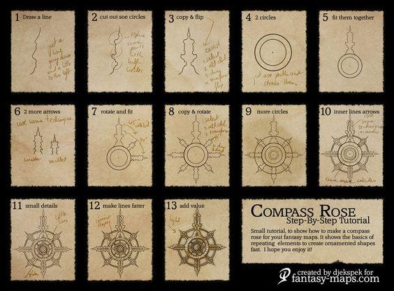 Fantasy Map Tutorial - Compass Rose by Djekspek.deviantart.com on @deviantART