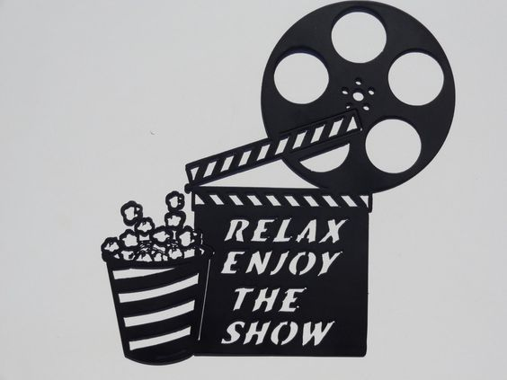Clapboard, Movie Reel Relax Enjoy the Show Home Movie Theater Decor Metal Wall Art: