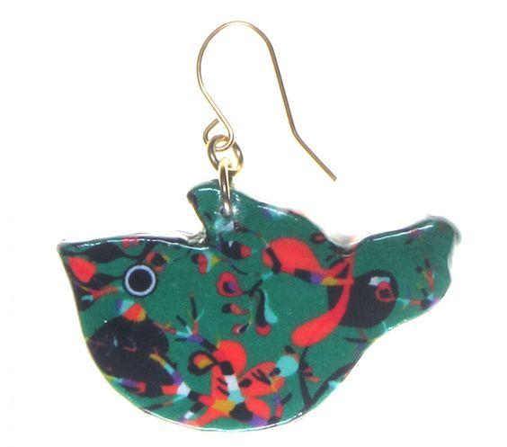 4160-3 - Green Floral Bird Earring originjewelry.net