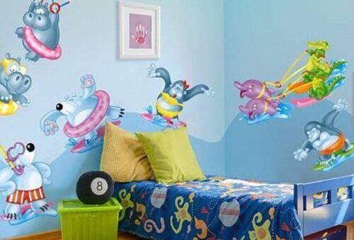 رسومات حوائط غرف أطفال 2020 صور مودرن ورسمات وتصميمات غاية في الروعة Toddler Bed Bed Home Decor
