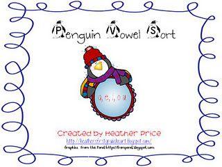 Free!!! Penguin vowel sort, 8 pages!!!!....cute reinforcer & printables!!!