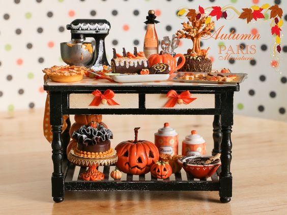 Paris Miniatures: Miniature Table for Halloween / Autumn - Custom Order