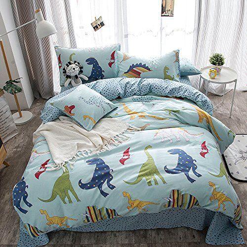 Merryfeel 100 Cotton Dinosaur Print Duvet Cover Set For Kids Bedding Full Duvet Cover Sets Childrens Duvet Covers Kids Duvet Cover