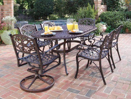Home Styles 55553358 Biscayne 7piece Outdoor Dining Set Rust